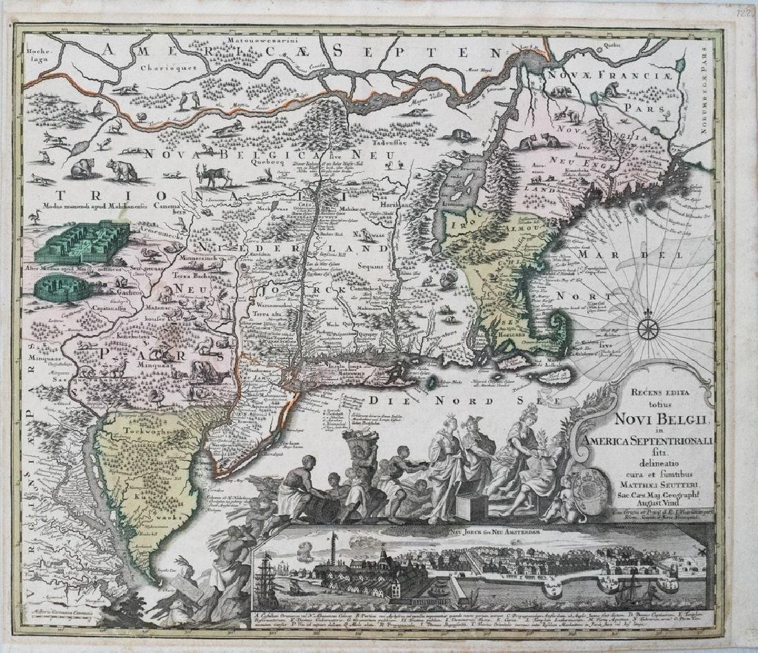 1730 Seutter Antique Map of New England to Virginia