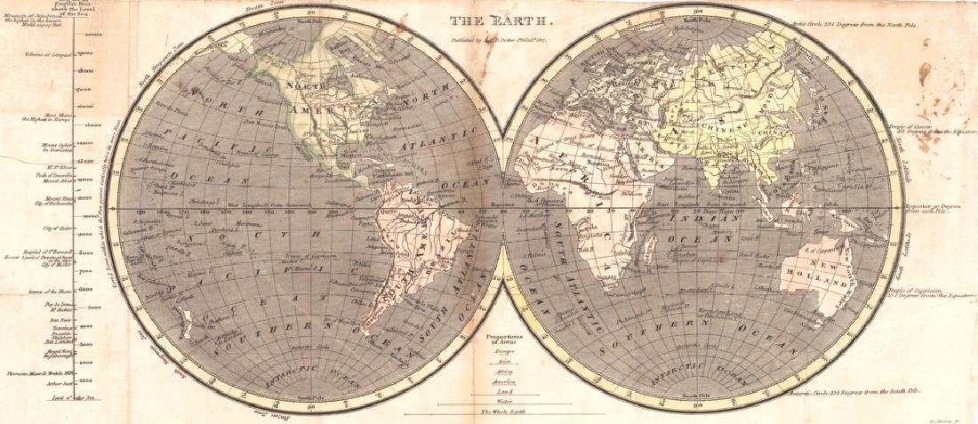 Haines: Antique Map of the Earth, 1817
