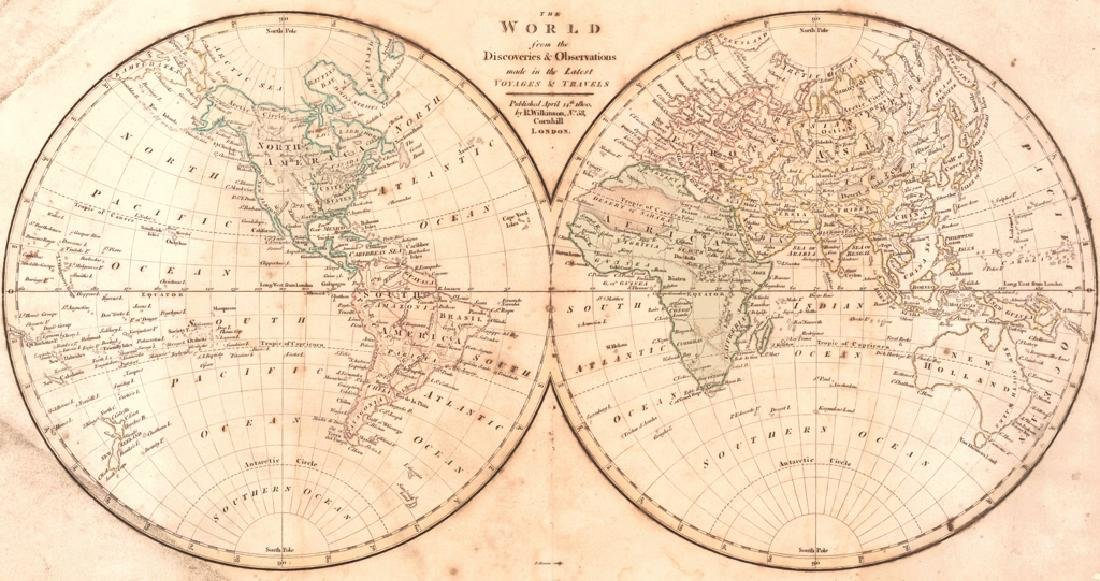 Bourne: Antique Map of the World, 1800