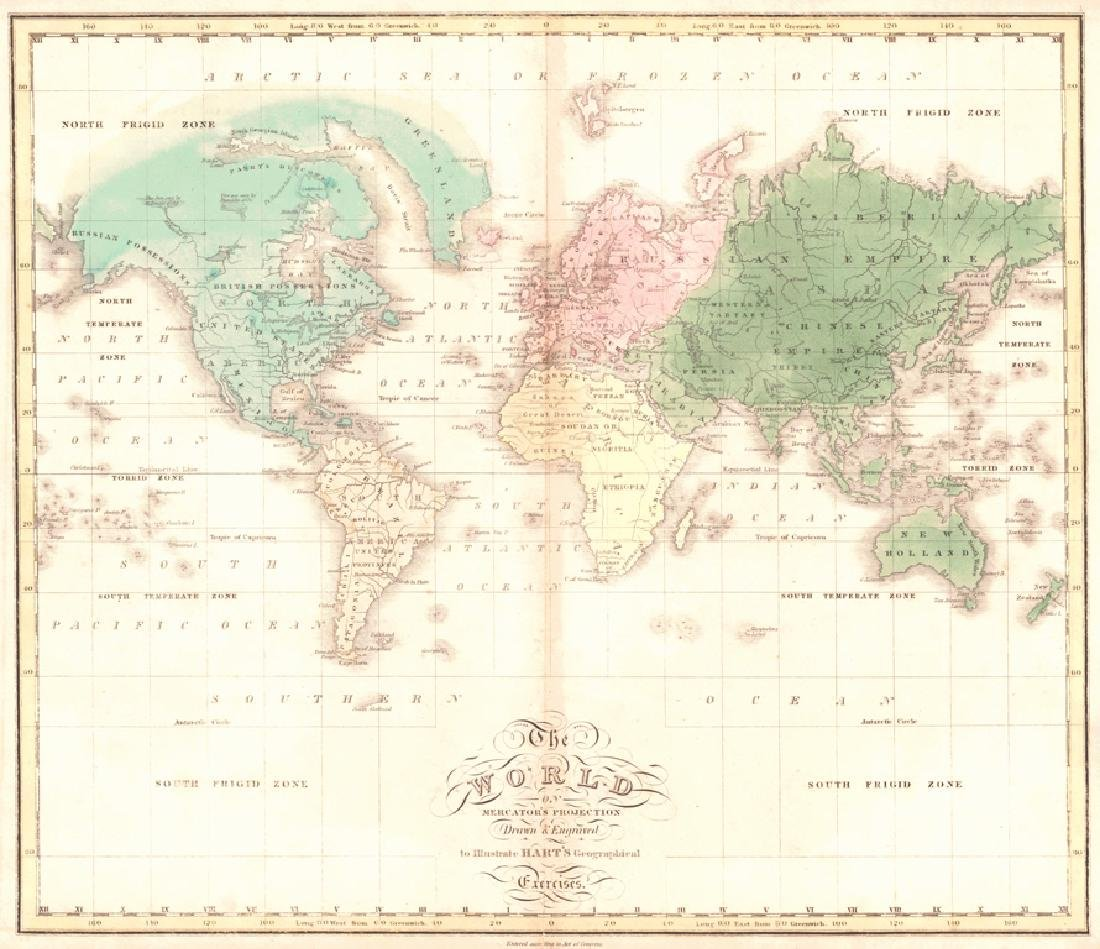 Hart: Map of World On Mercator's Projection, 1828