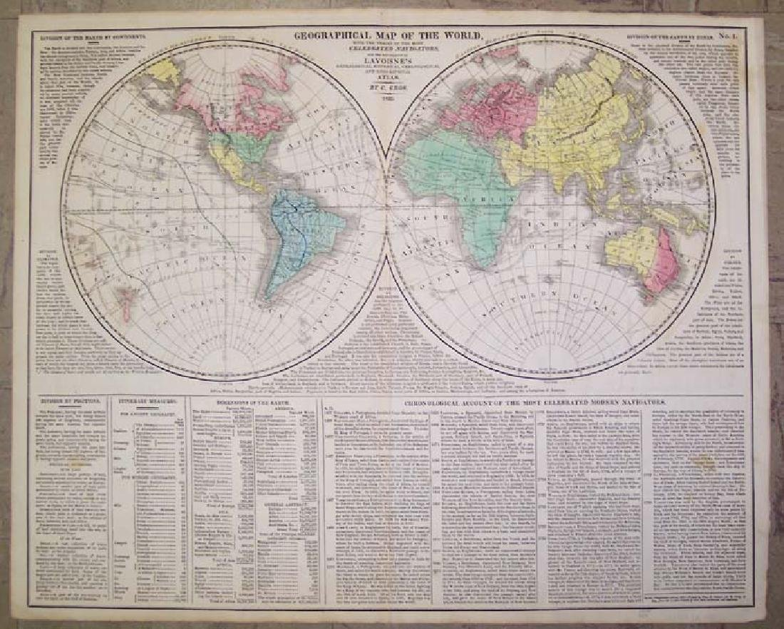 Antique Geographical Map of the World, 1820