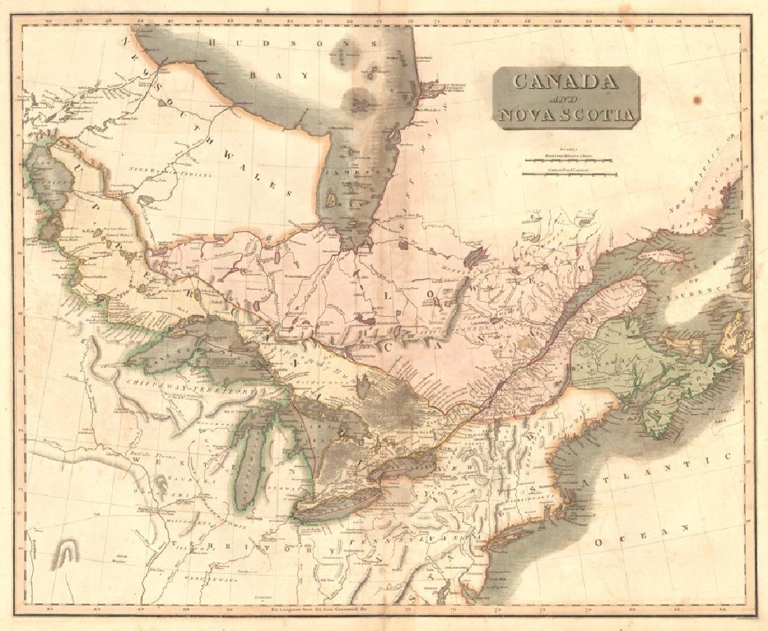Thomson: Antique Map of Canada & Nova Scotia, 1817