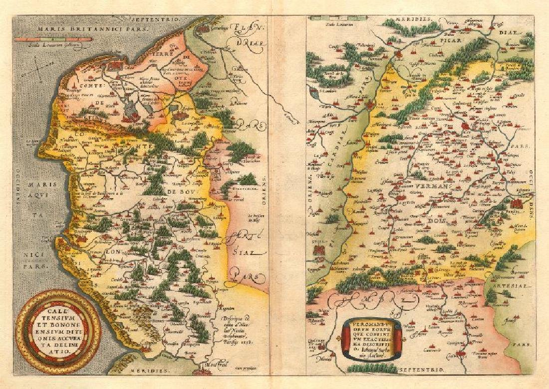 Ortelius: Antique Map of Calais/Boulogne, 1584
