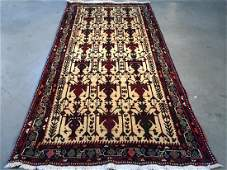 Authentic Tribal Wool Persian Rug 3.7x7.4