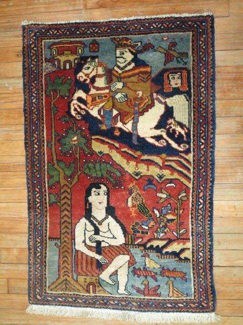 Vintage Persian Pictorial Leili & Majnoon Rug 2.3x3.5