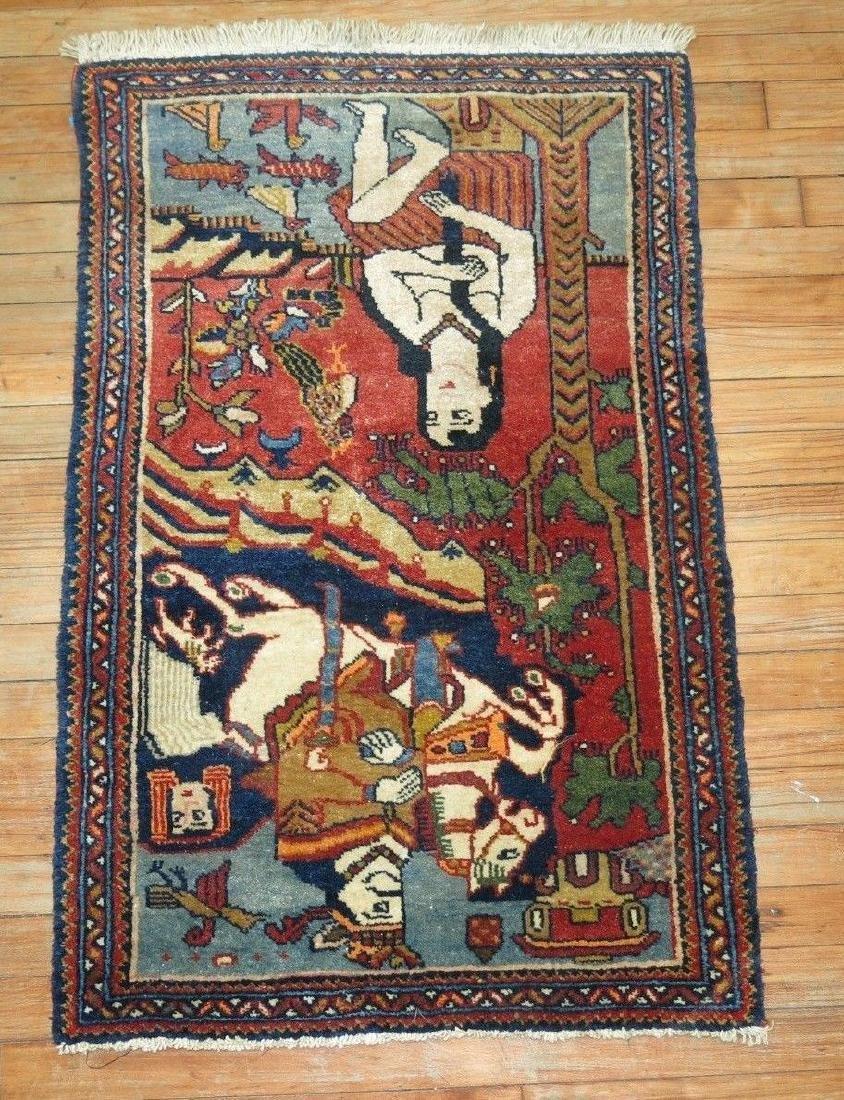 Vintage Persian Pictorial Leili & Majnoon Rug 2.3x3.5 - 3