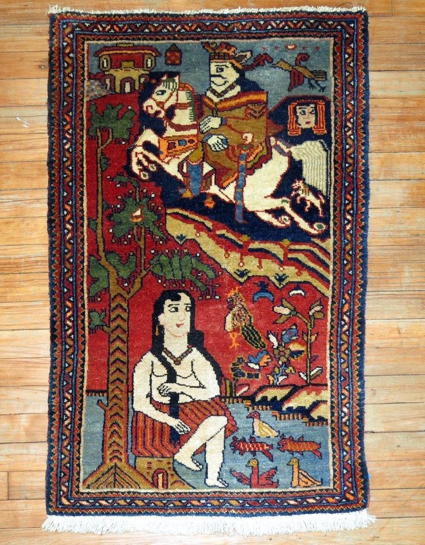 Vintage Persian Pictorial Leili & Majnoon Rug 2.3x3.5 - 4