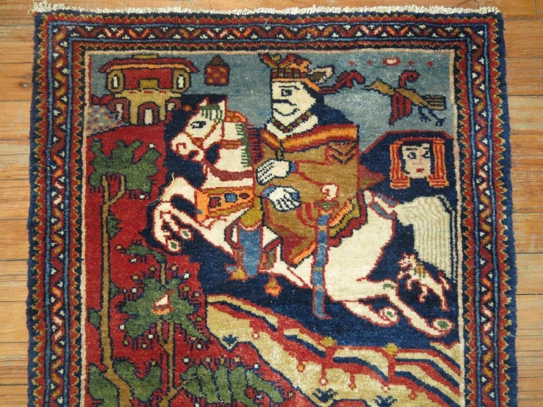 Vintage Persian Pictorial Leili & Majnoon Rug 2.3x3.5 - 5