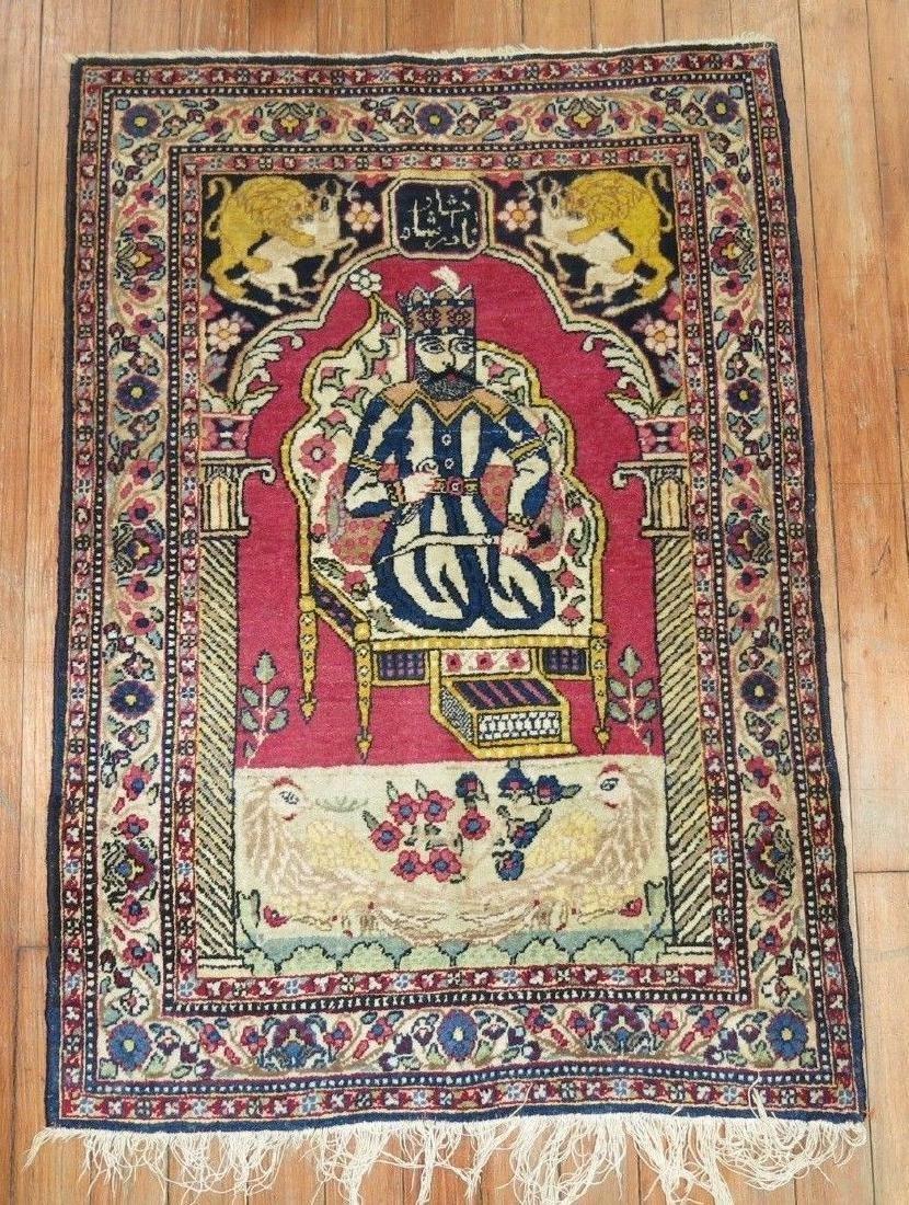 Vintage Persian Pictorial Nader Shah Rug 1.11x2.10