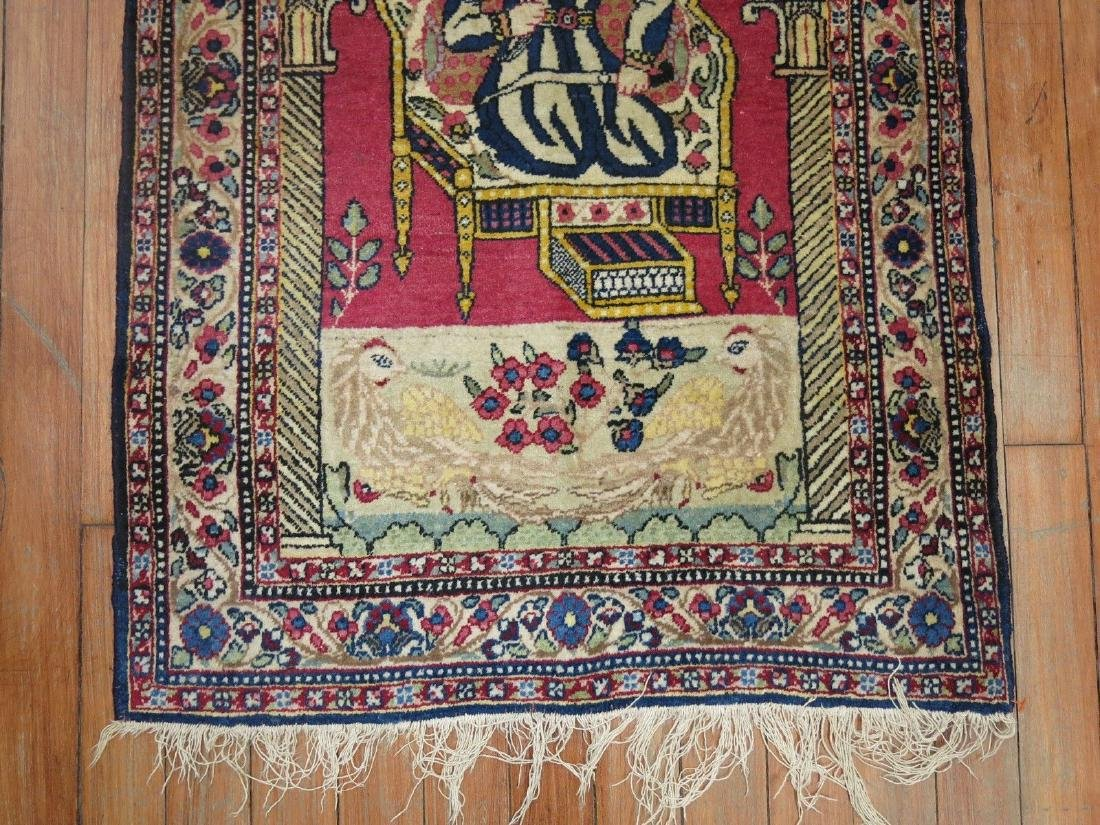 Vintage Persian Pictorial Nader Shah Rug 1.11x2.10 - 2