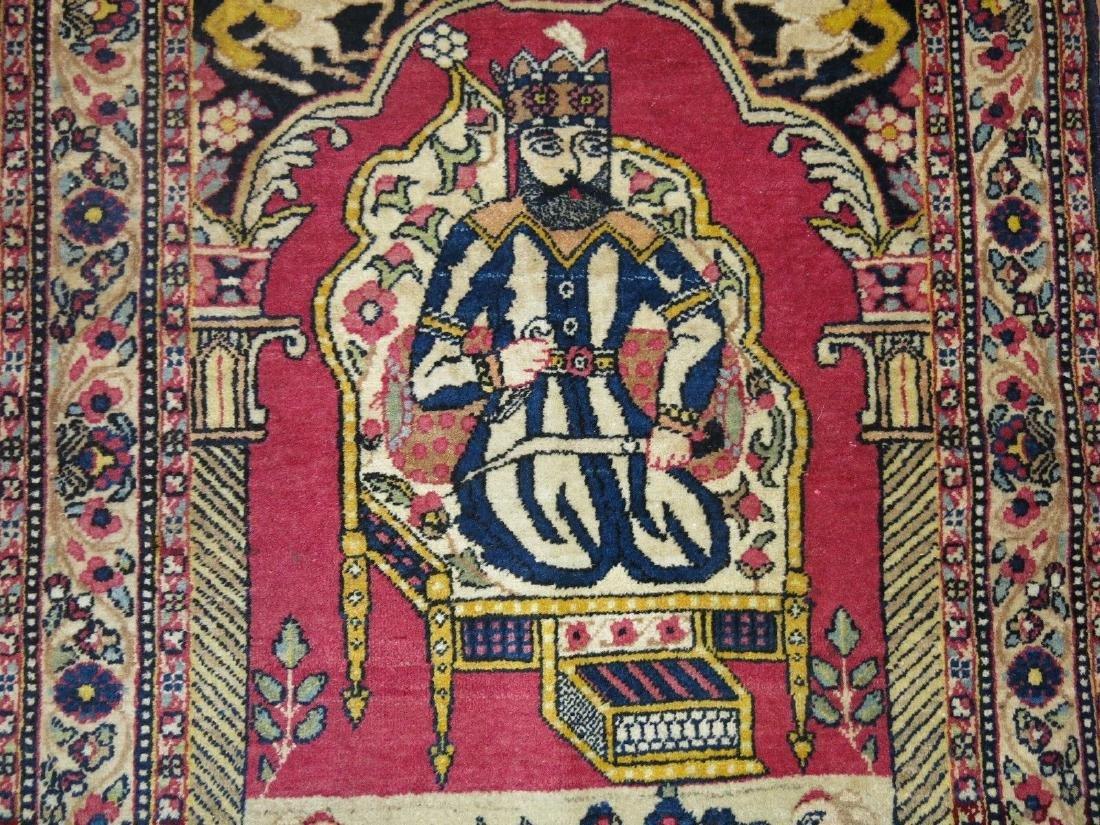 Vintage Persian Pictorial Nader Shah Rug 1.11x2.10 - 3