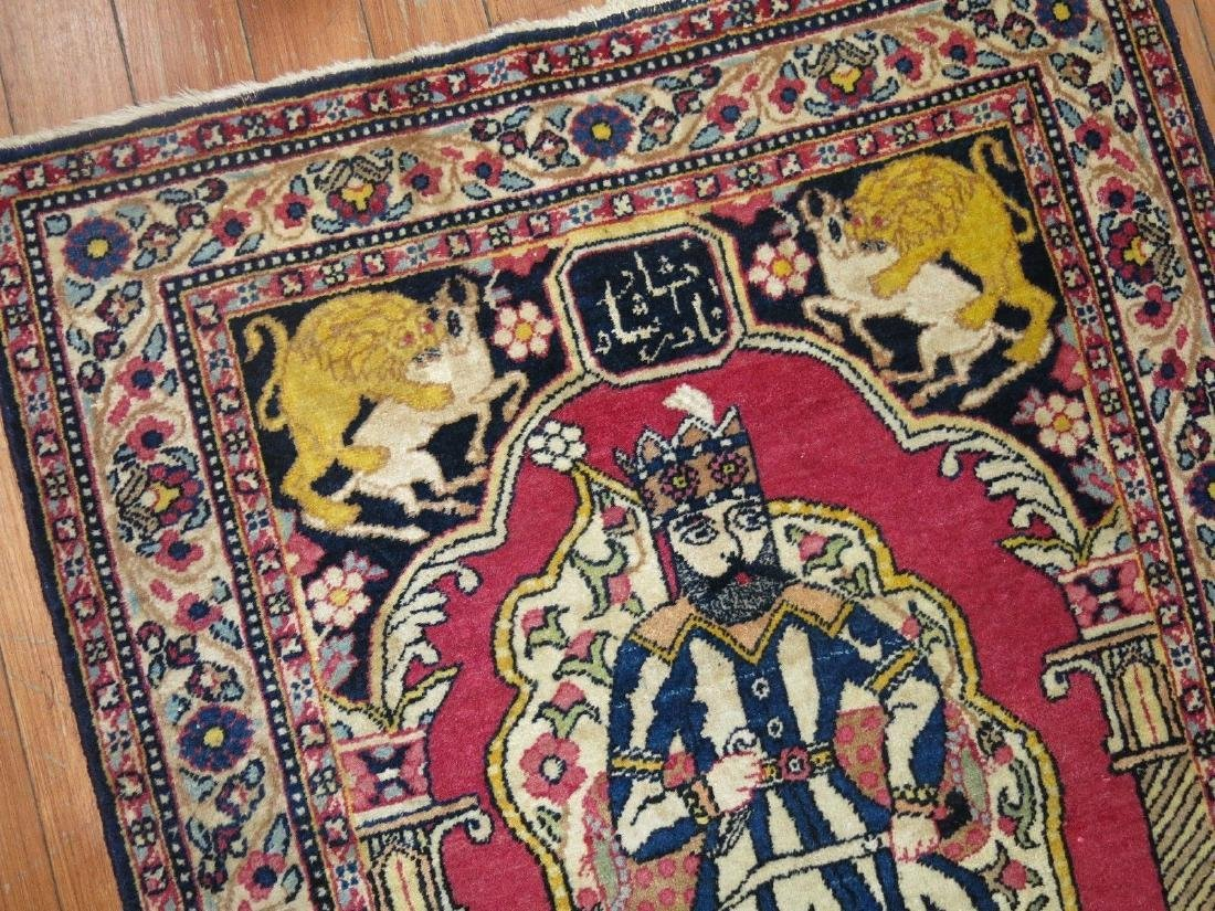Vintage Persian Pictorial Nader Shah Rug 1.11x2.10 - 5
