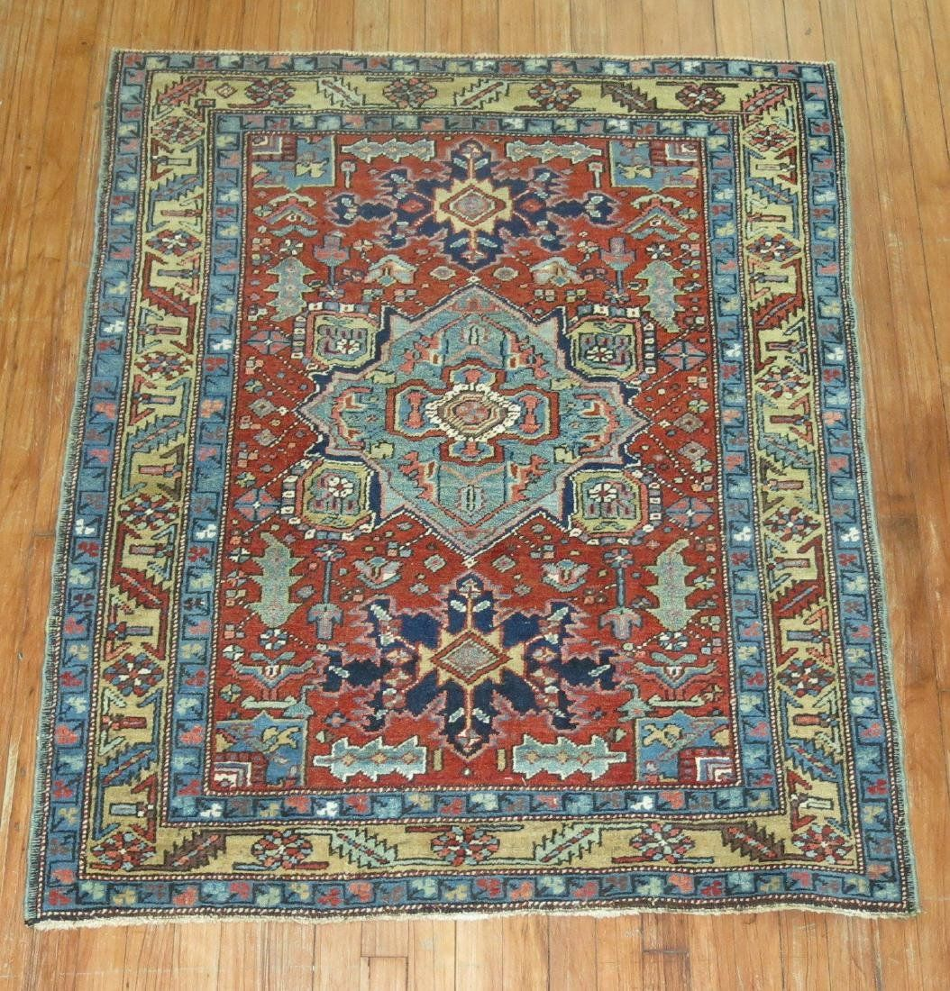 Vintage Persian Heriz Serapi Rug 3.9x4.6