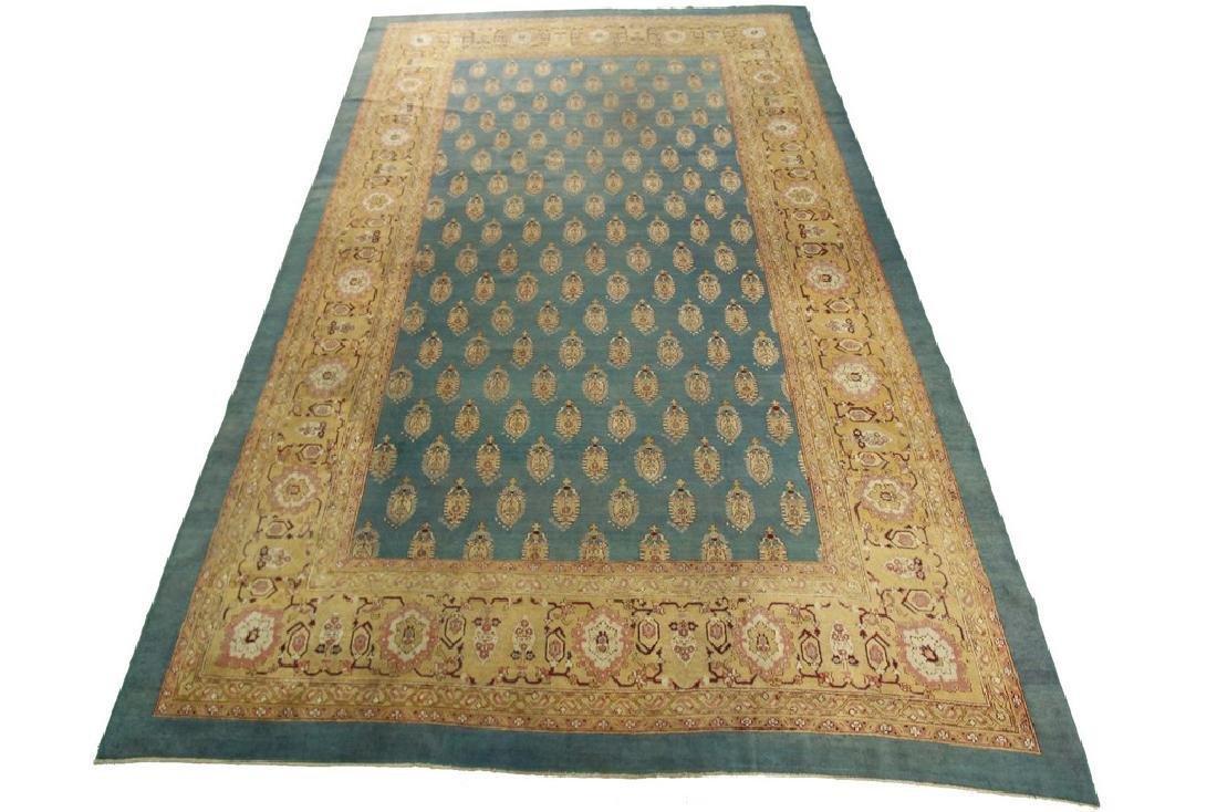 Antique Agra Amritsar Green Oushak Tones Rug 10.8x16