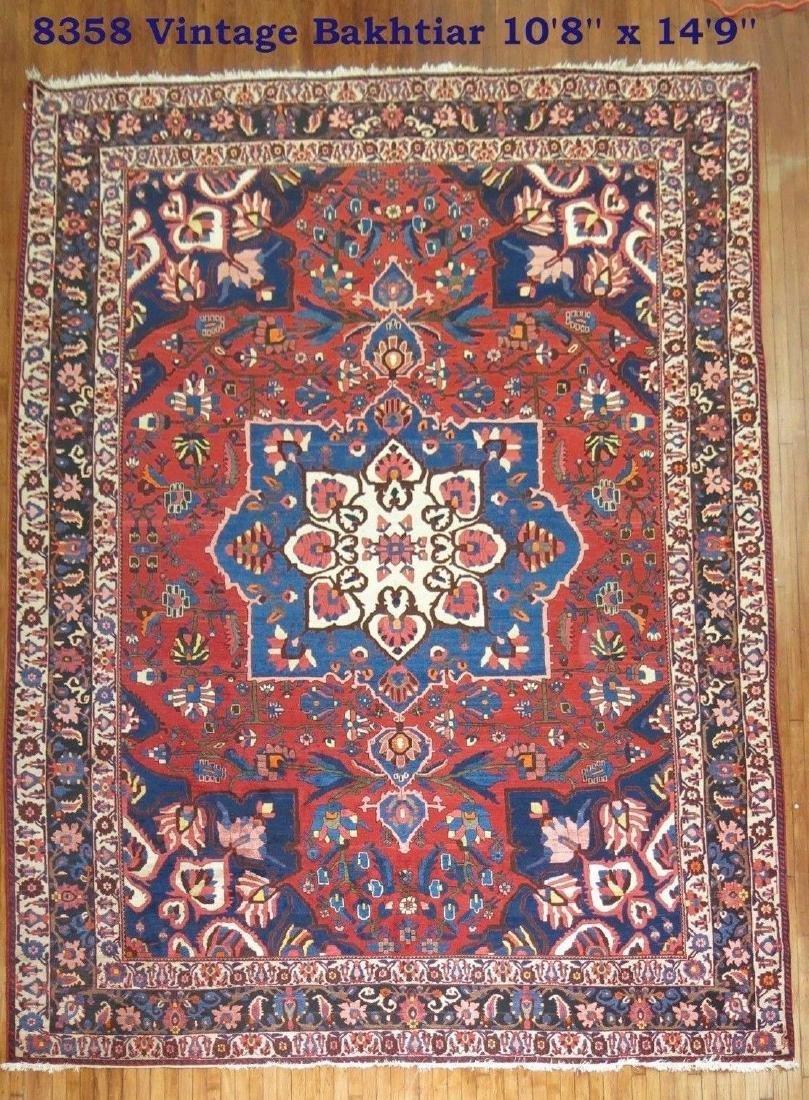 Vintage Persian Bakhtiar Bakhtiari Bidjar Rug 10.8x14.9
