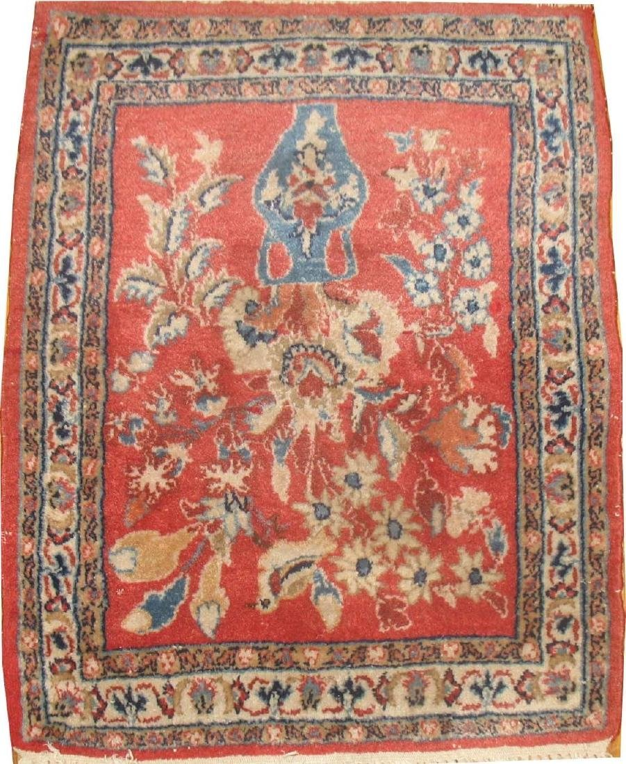 Antique Persian Sarouk Kashan Nain Flower Rug 1.4x1.8