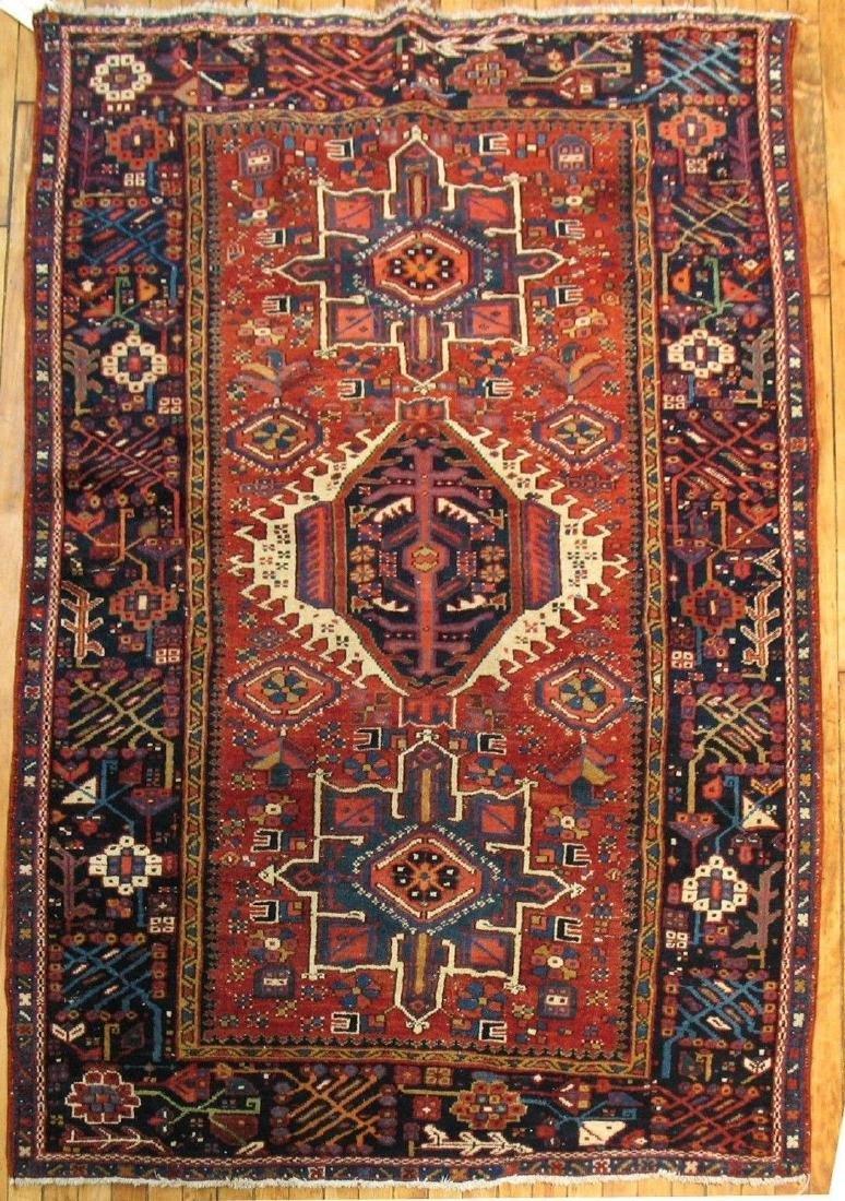 Antique Persian Heriz Serapi Karajeh Rug 4.6x6.6