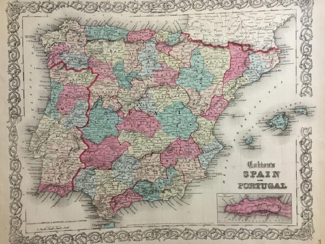 Colton: Antique Map of Spain & Portugal, 1859