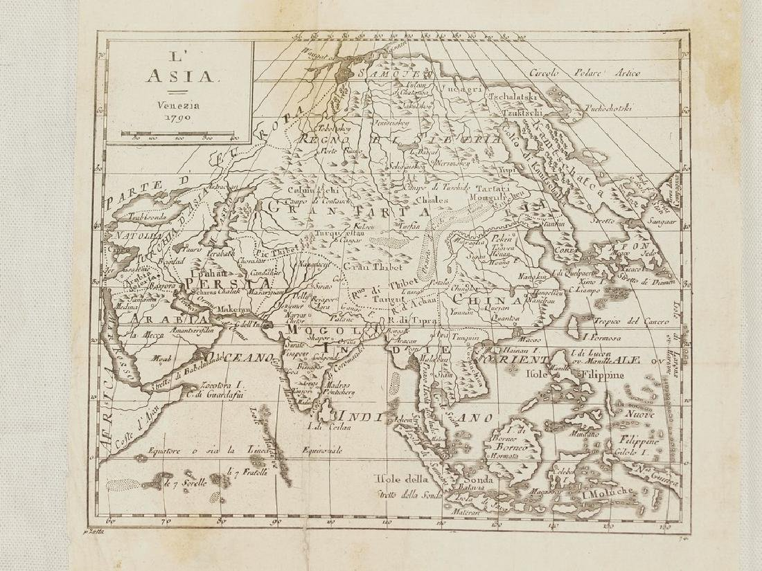 Antique Map of Asia 1790 Buffier Etching On Copper