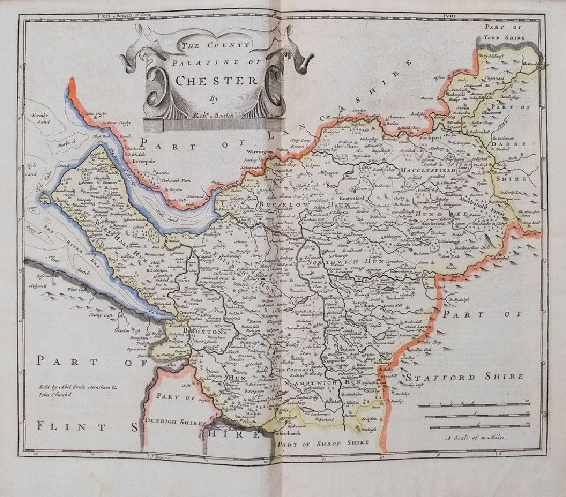 1722 Morden Antique Map of Chesire UK