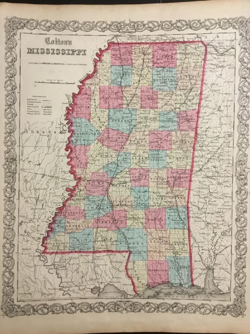 Colton: Antique Map of Mississippi, 1859