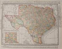 1895 Rand McNally Map of Texas and Indian Territory