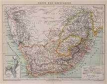 1882 Brockhaus Antique Map of South Africa