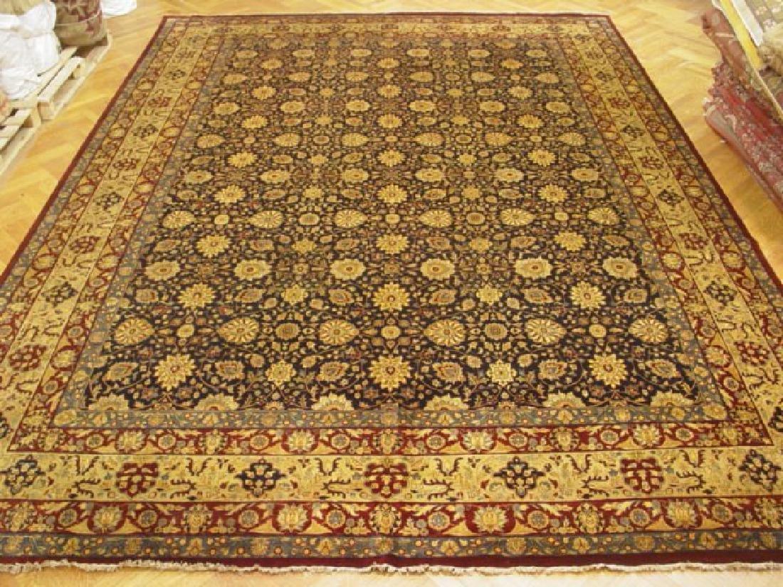 Handmade Navy Blue Tabriz Jaipur Rug 11.6x15.6