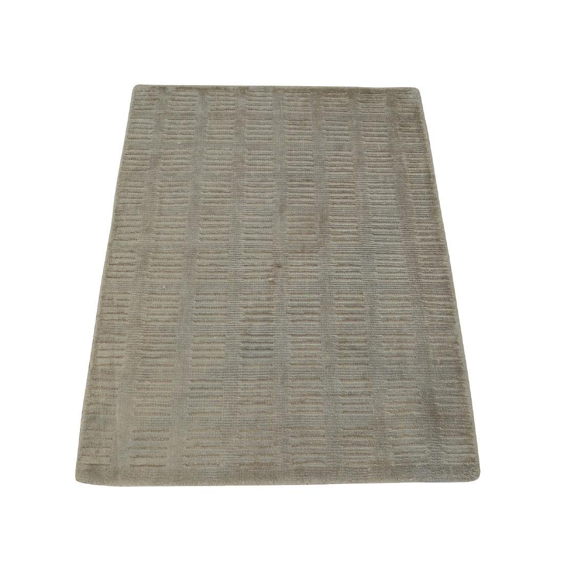 Hand Loomed Art Silk Rug Tone on Tone Beige Modern 2x3