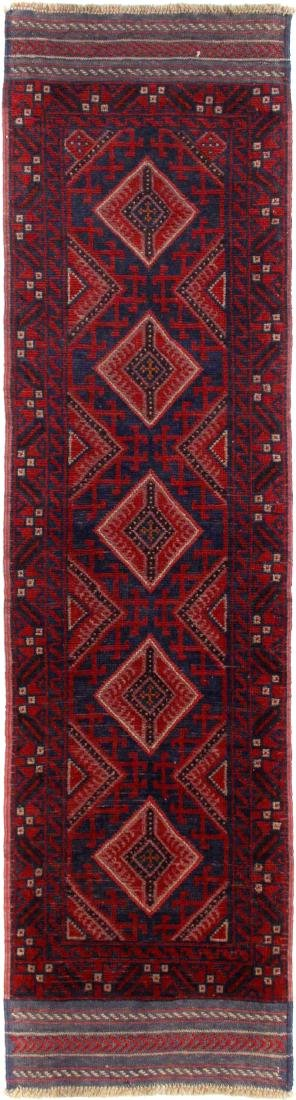 Mashwani Wool Tribal Hand-Knotted Runner Rug 1.11x8