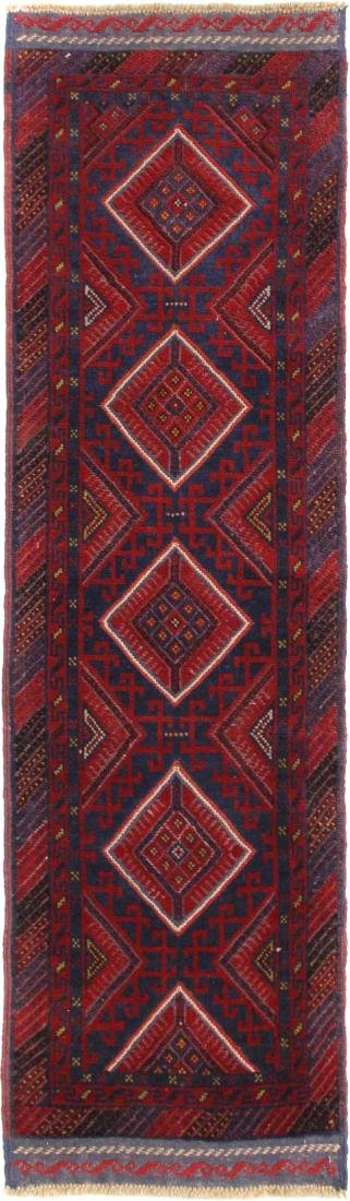 Arab Tribal Hand-Knotted Runner Mashwani Rug 2.1x7.5