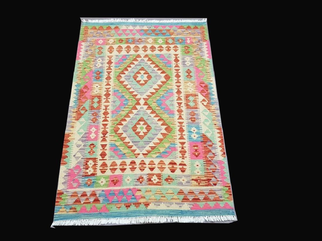 Prayer Handmade Kilim Flat Weave Rug 3.4x4.11