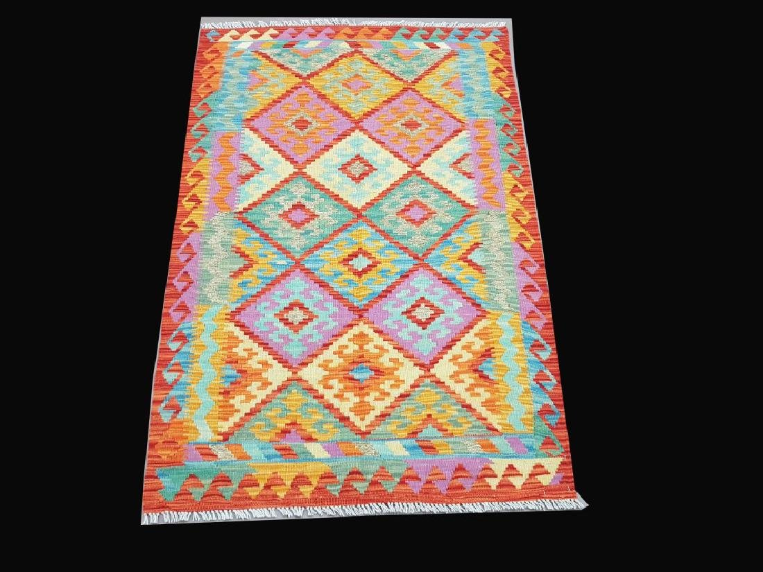 Tapestry-Woven Hand-Knotted Kilim Flat Weave 3.4x4.11