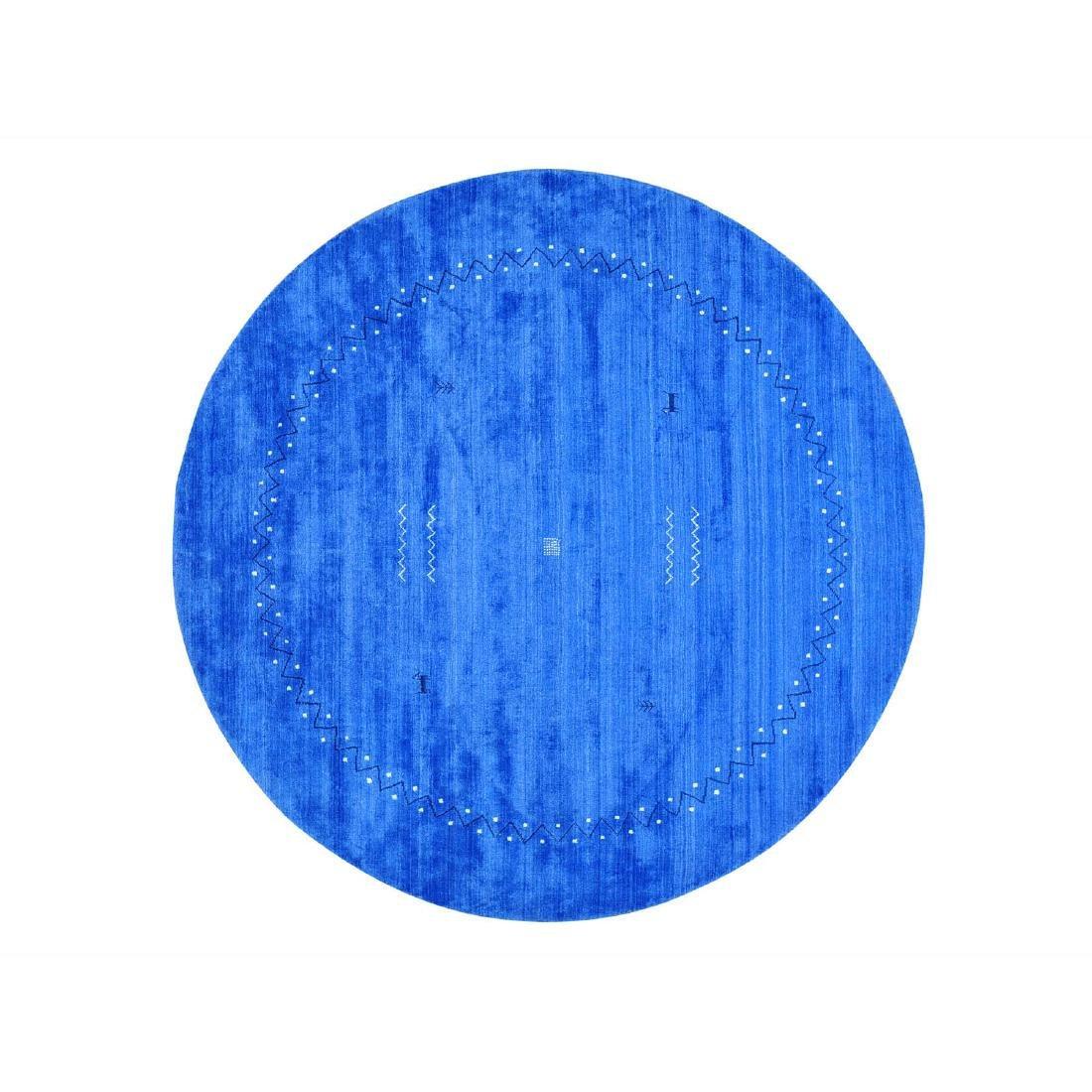 Round Hand Loomed Gabbeh Modern Wool & Silk Rug 8.2x8.2