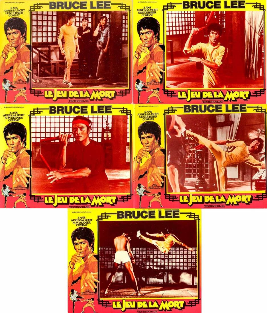 Five French Lobby Cards from Bruce Lee Game of Death