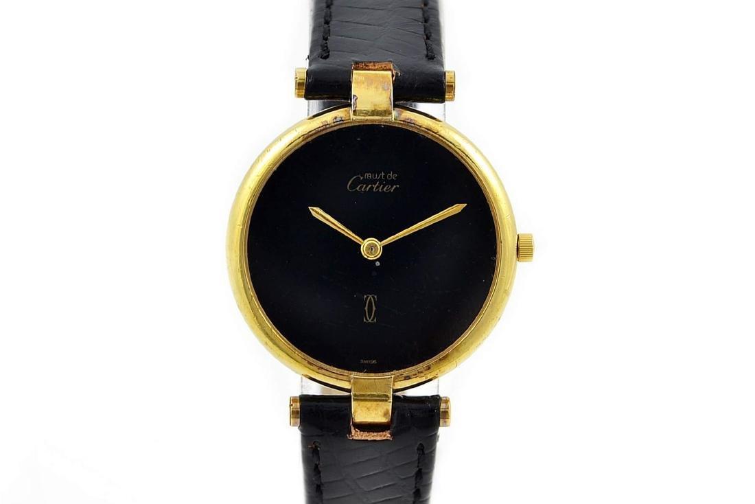 Vintage Must De Cartier Argent 925 Gold Plated Quartz