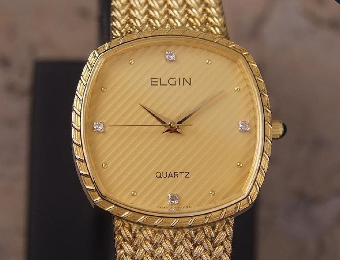 Elgin Swiss Made 1980s Mens Luxury 30mm Gold Plated