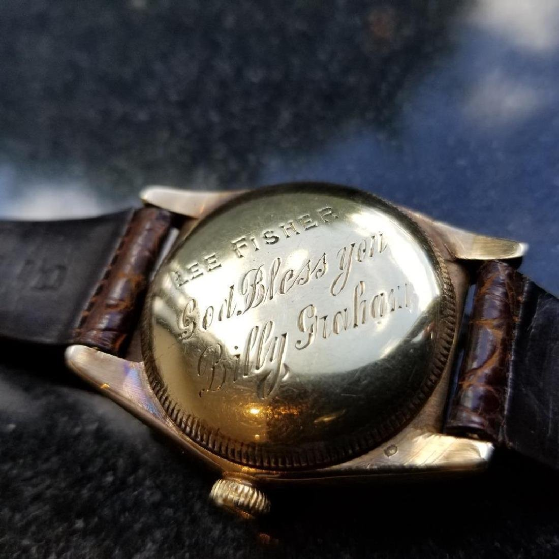 Rolex Signed Billy Graham to Lee Fisher 1950 Solid Gold - 3