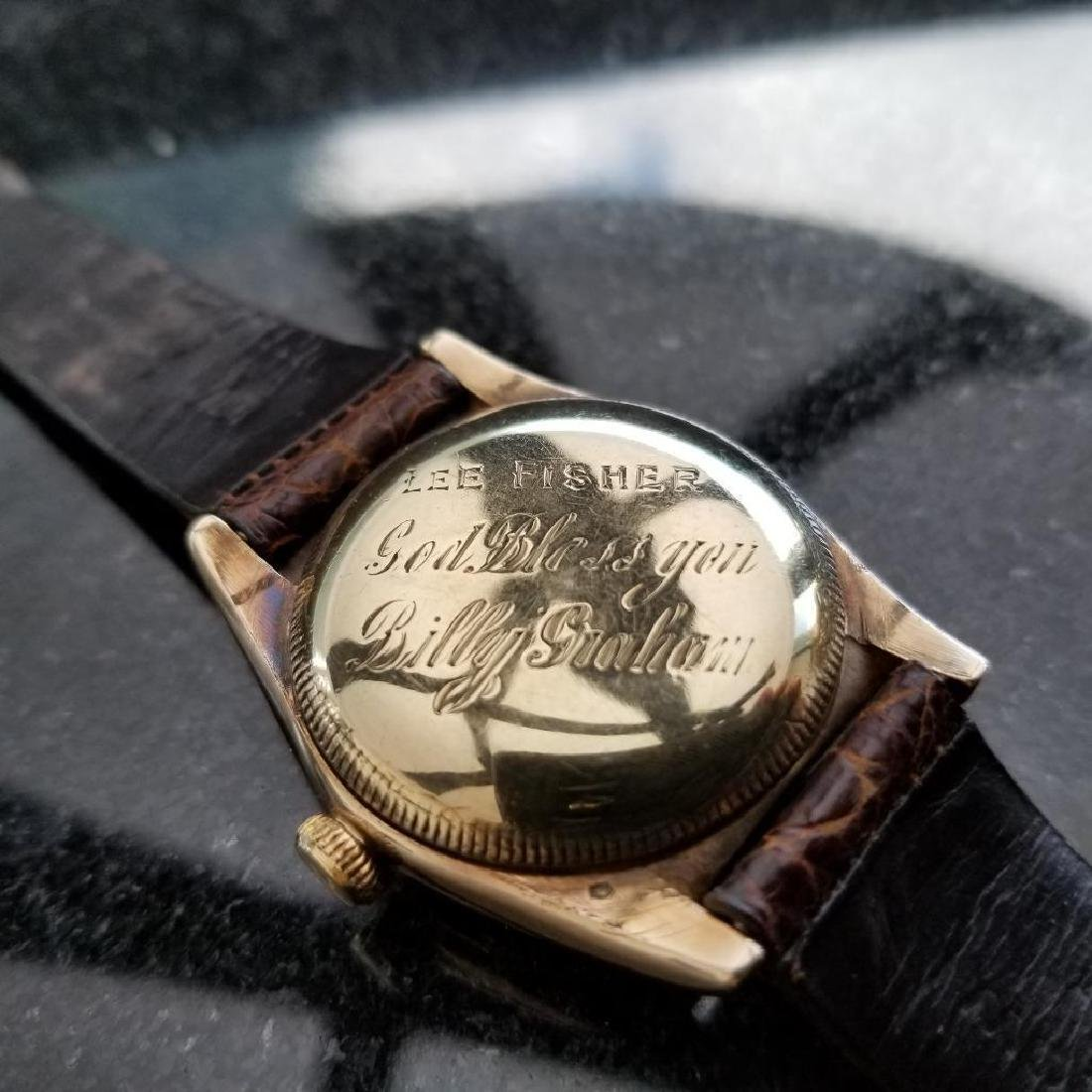 Rolex Signed Billy Graham to Lee Fisher 1950 Solid Gold - 4