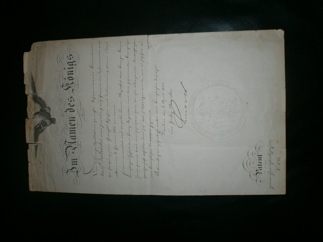 Patent from the King of royal Germany 1860