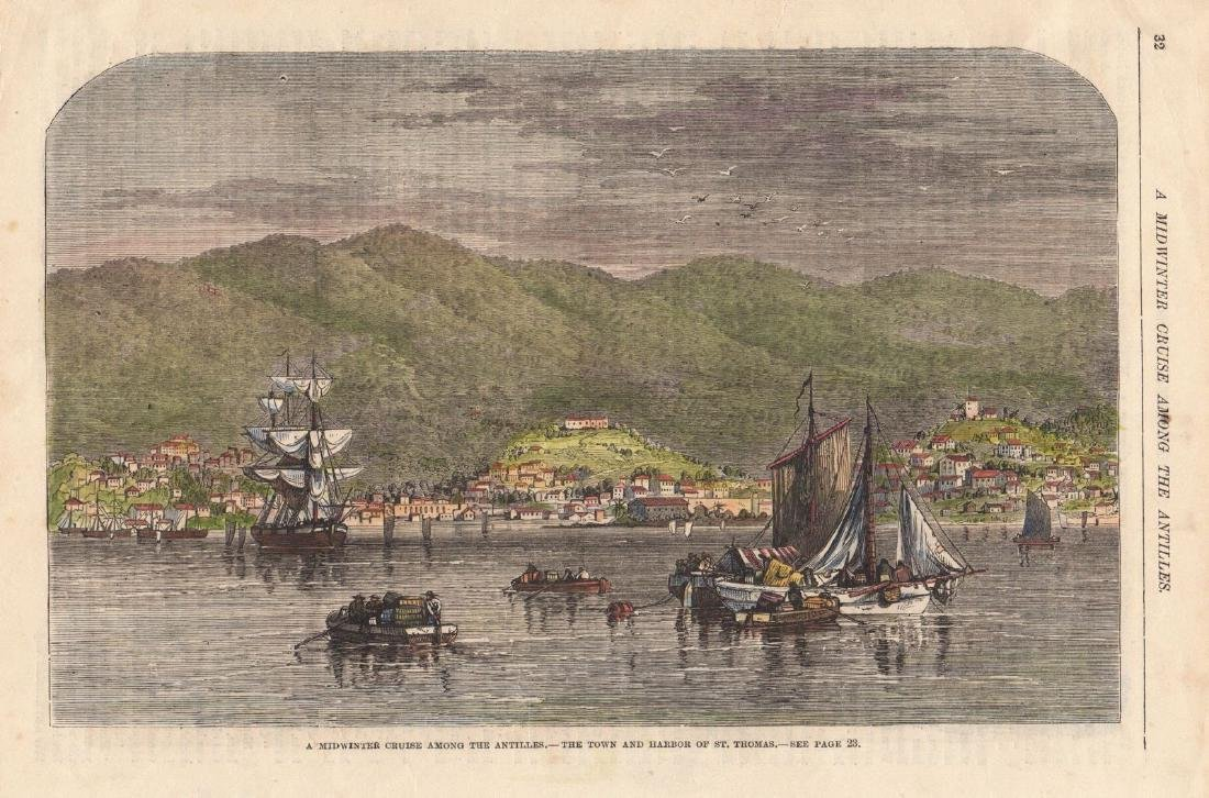 Leslie's Monthly: The Town and Harbor of St. Thomas
