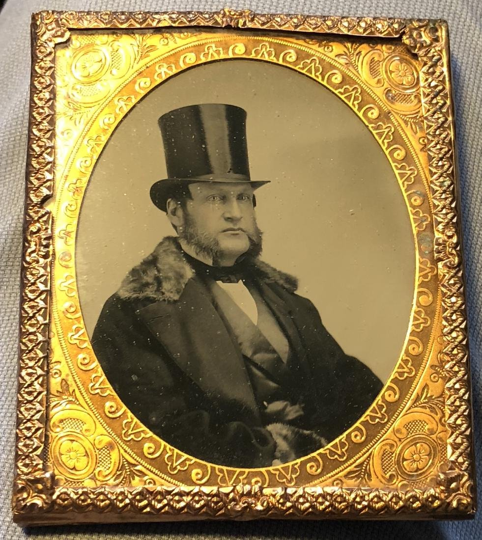 Sixth Plate Ambrotype Of Dapper Man Wearing Top Hat