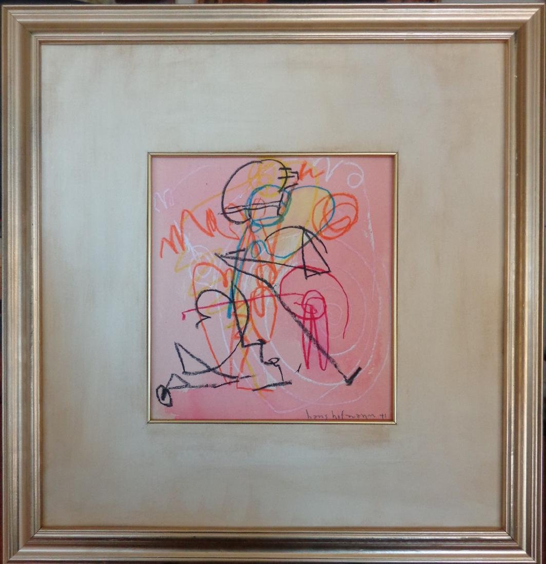 Signed Drawing Hans Hofmann Crayons Watercolor on Paper