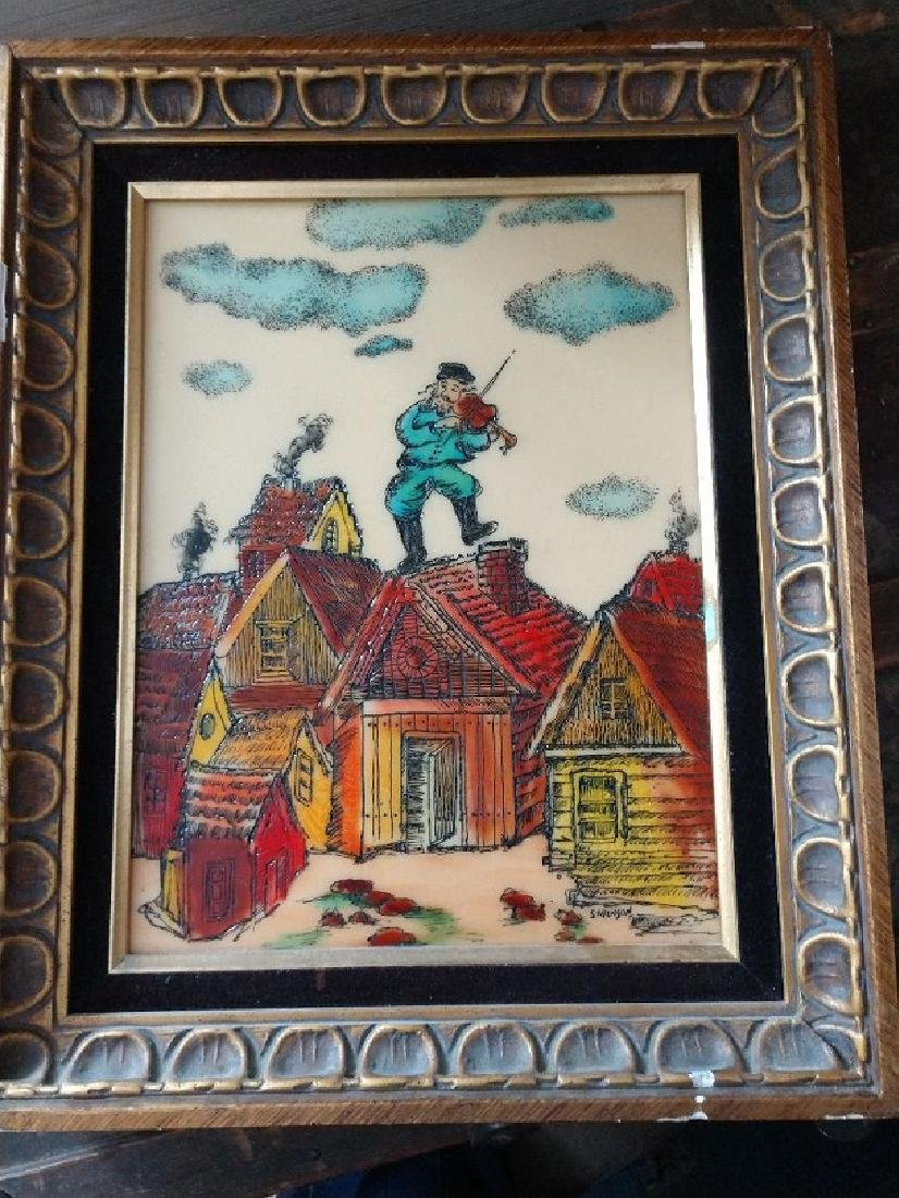Sarinson Fiddler on the Roof 1970 Framed Etching