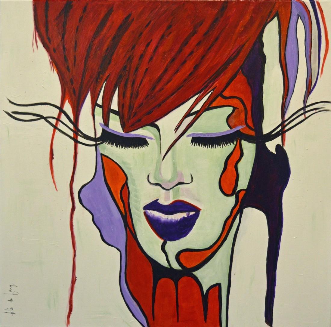 Meisje met rood haar II Signed Painting