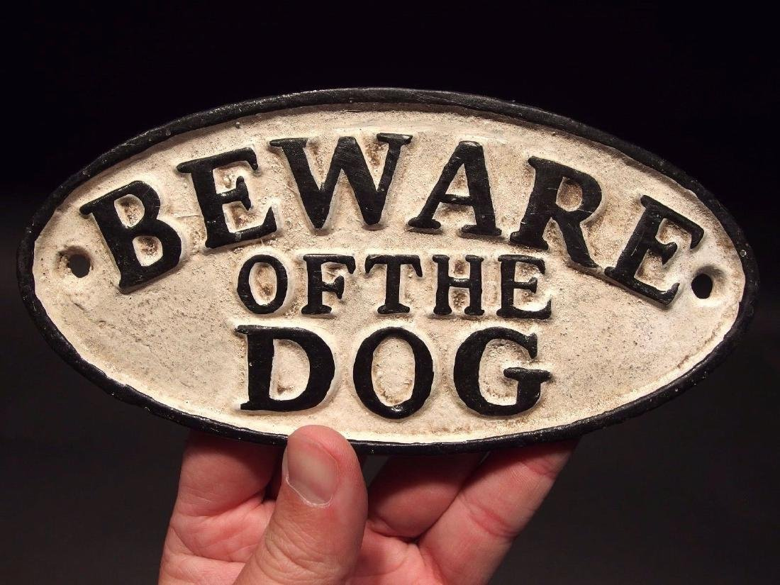 Cast Iron Beware Of The Dog Warning Sign w Raised