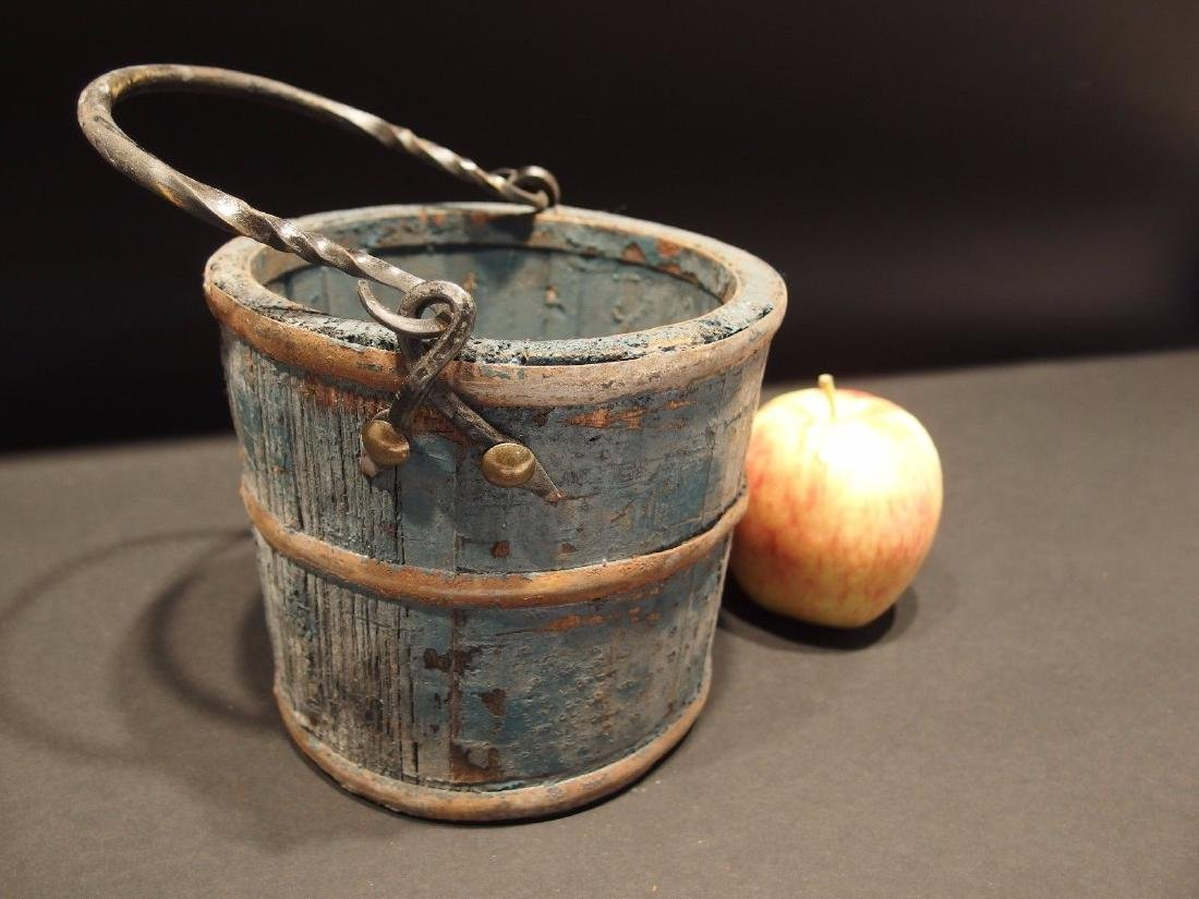 Colonial Wood Berry Bucket w Iron Handle old Blue Paint