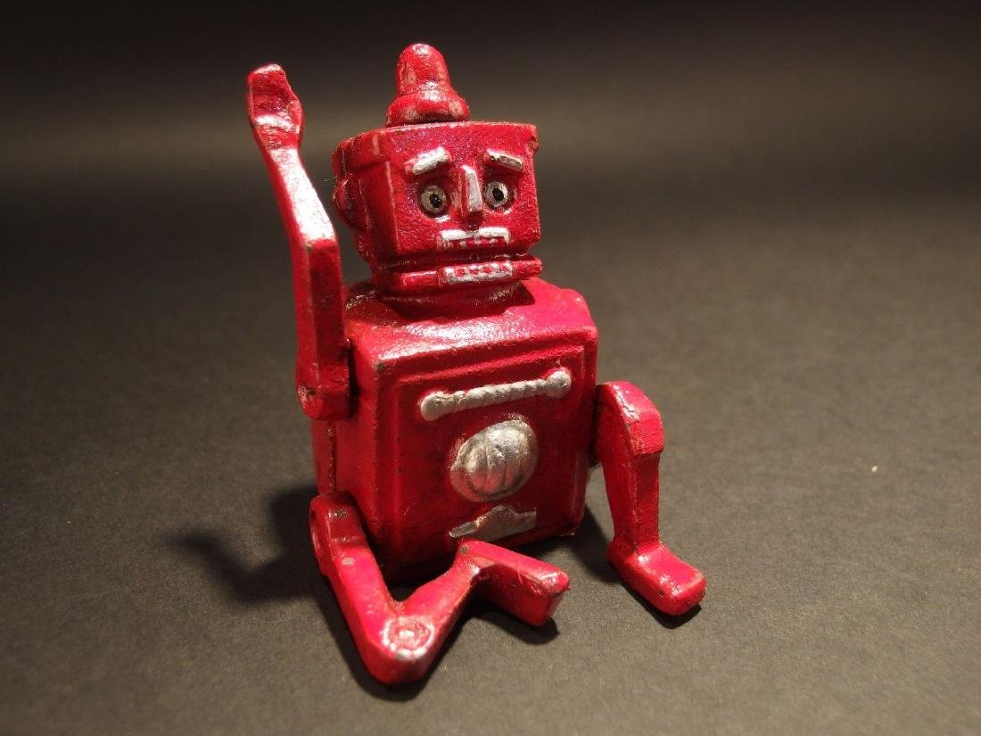 Mini Cast Iron Red Robert the Robot Toy Paperweight
