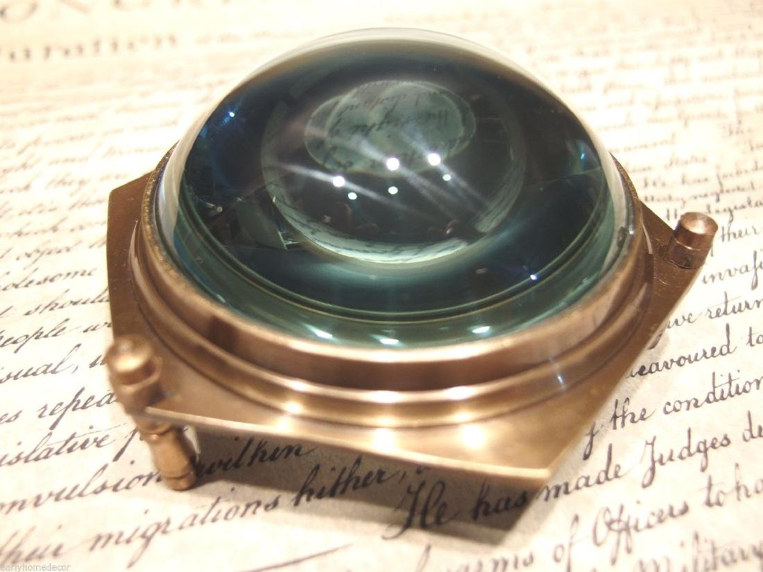 Brass Heavy Glass Magnifying Desk Lens Magnifier