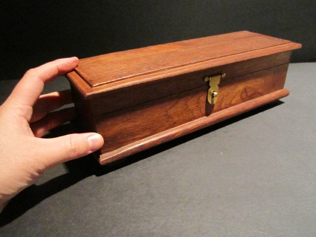 Hardwood Inkwell Writing Box Pen Desk Set w Inkwell & - 4